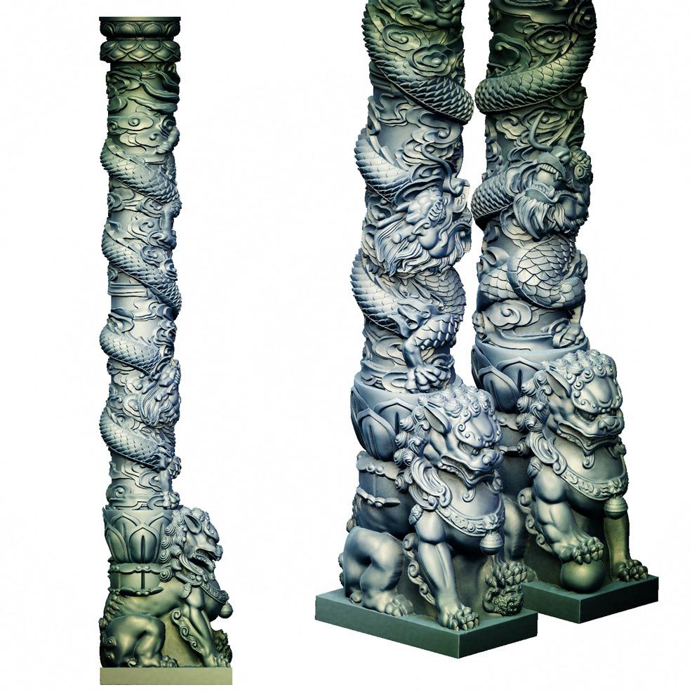 狮子龙柱墓碑-3D打印