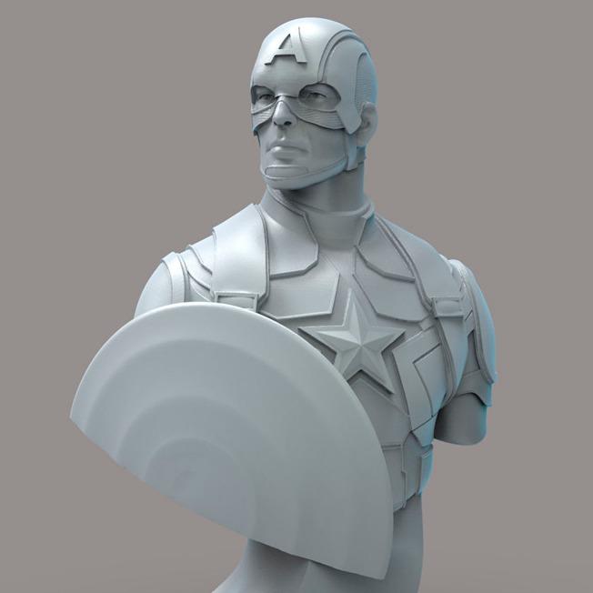 美国队长半身像 3D打印模型stl-3D打印