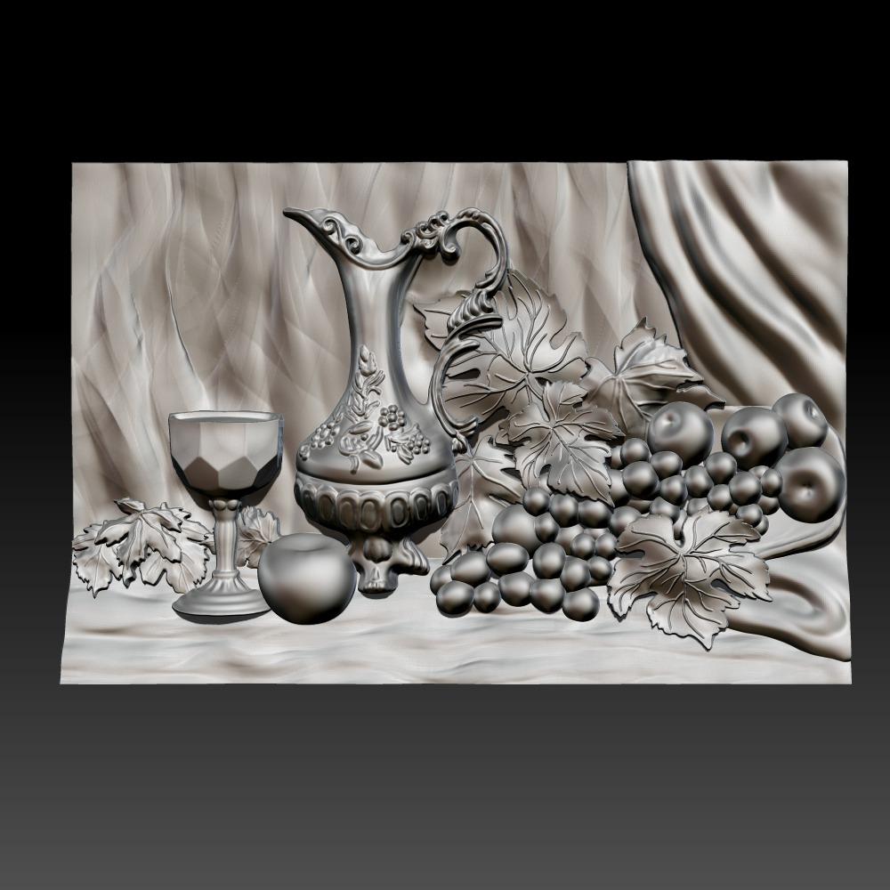 3D模型-葡萄和葡萄酒