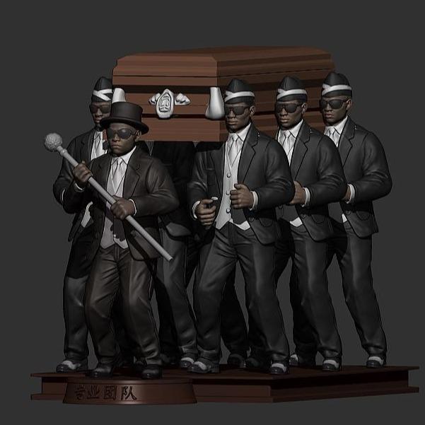 黑人抬棺3D打印模型1