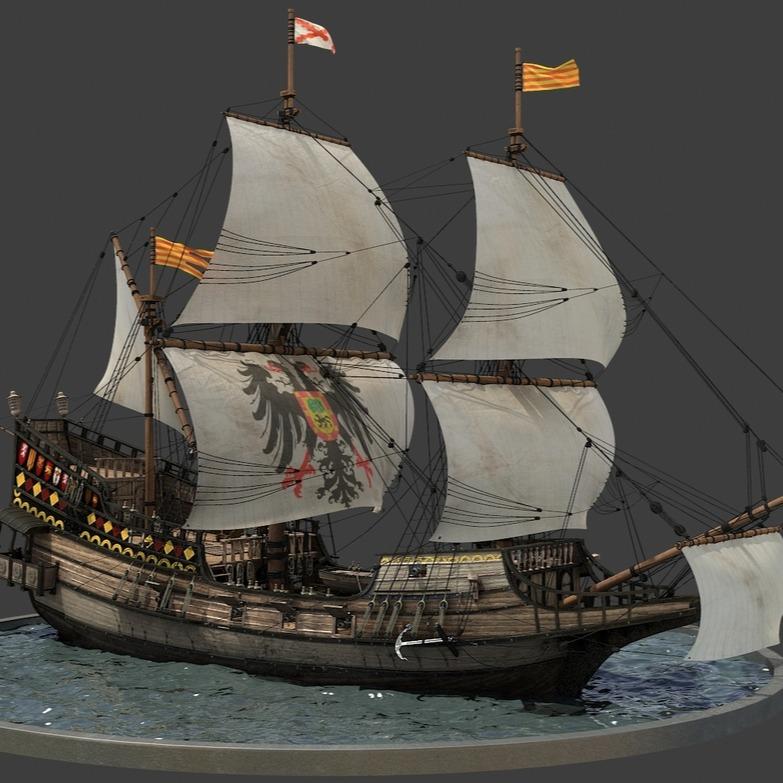 西班牙帆船3D模型-3D打印