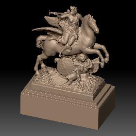 卢浮宫骑飞马吹号角的战士石膏雕塑